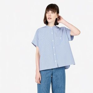 New! Everlane Cotton Collarless Short Sleeve Shirt